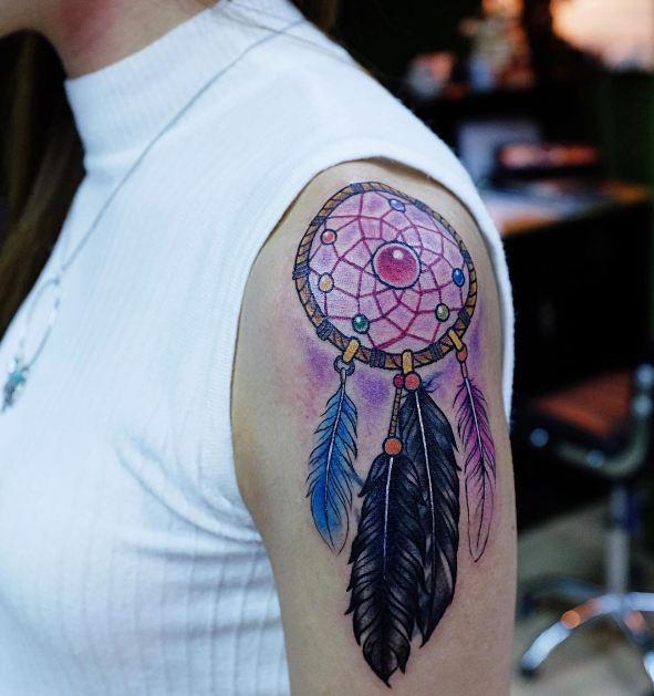 Dreamcatcher Tattoos On Half Sleeve