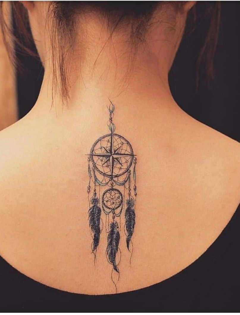 Dreamcatcher With Peacock Feathers Tattoo (9)