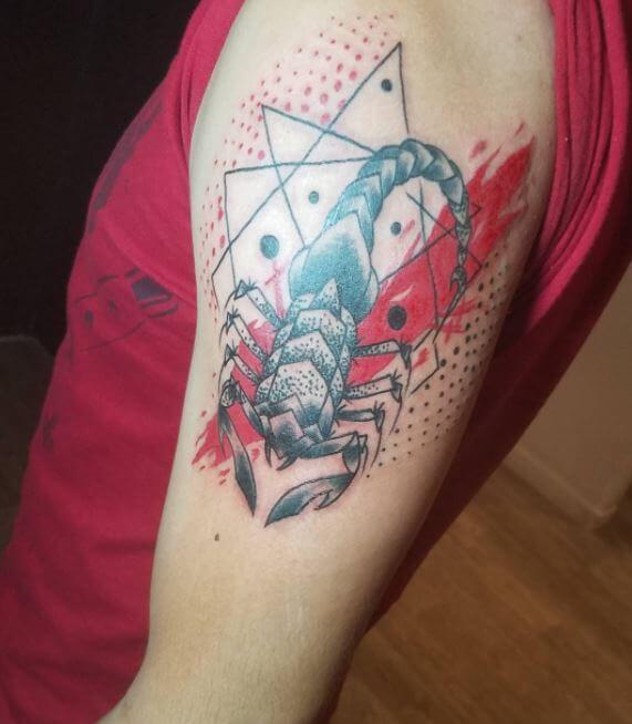 Geometric Scorpion Tattoo
