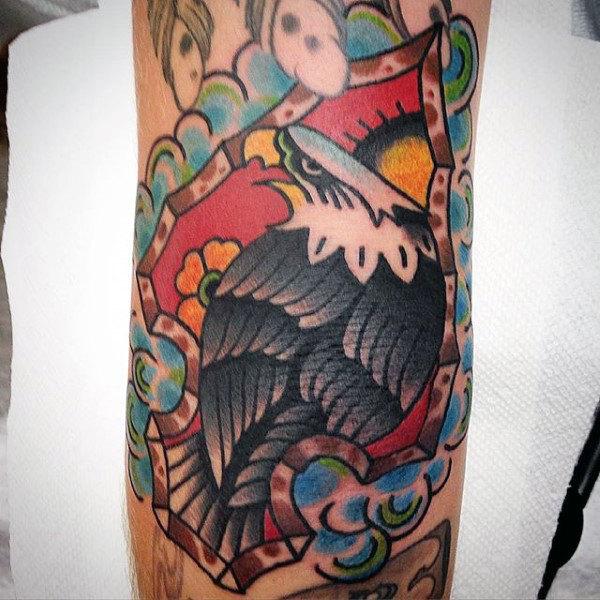 Gorgeous Grey Feathered Eagle Inside Arrowhead Tattoo Male Forarms