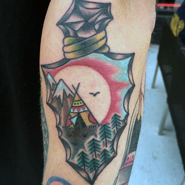 Guys Forarms Tent On Hills Arrowhead Tattoos
