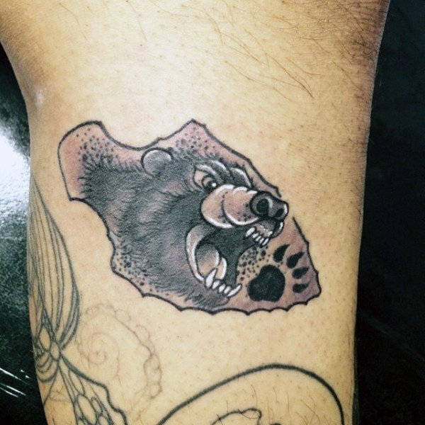 Hungry Bear Inside Arrowhead Tattto On Upperarms For Males