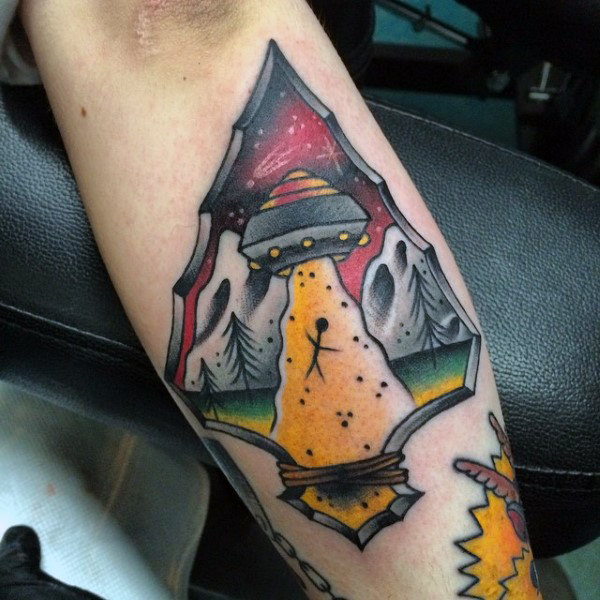 Light From Ufo Inside Arrowhead Tattoos On Forearms Men