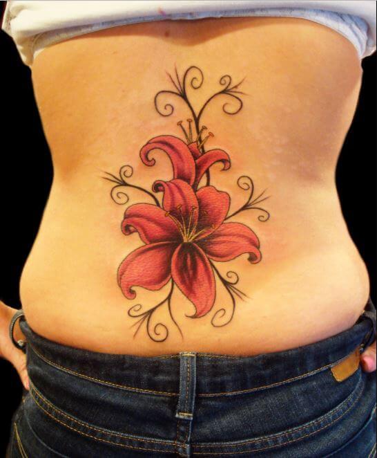 Lower Back Flower Tattoos For Girls