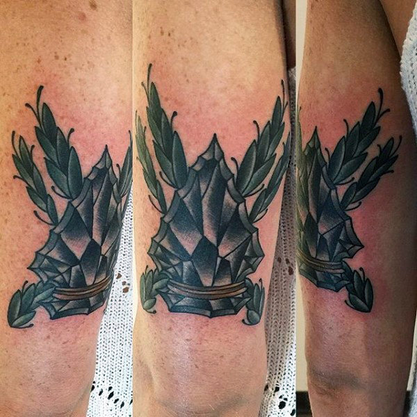 Mens Dichrome Shaded Arrowhead Tattoo On Upperarms