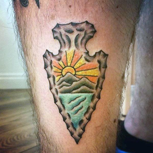Mens Glowing Sunrise Arrowhead Tattoo On Forearms