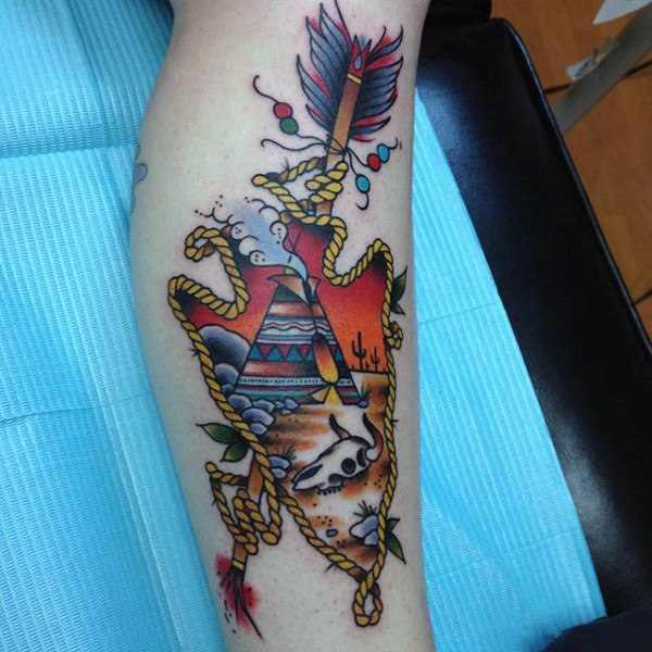 Mens Red Indian Themed Arrowhead Tattoo On Forearms