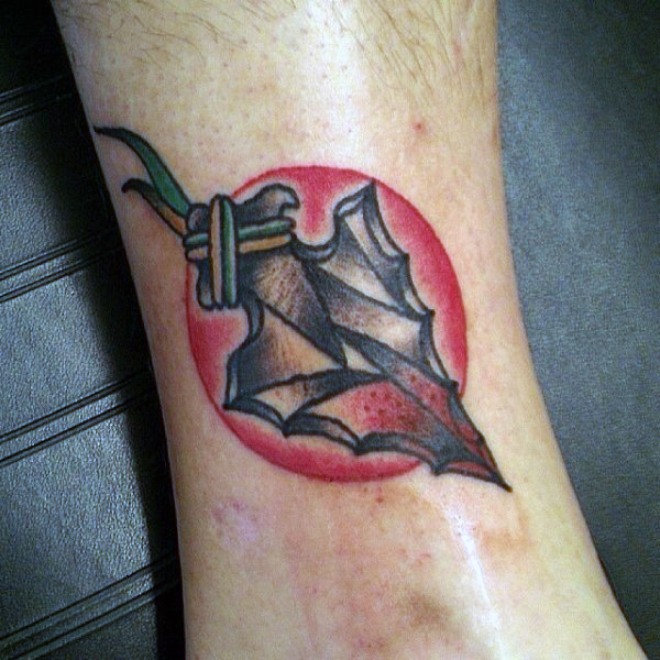 Mens Unique Arrowhead Tattoo On Ankles