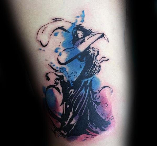 Mens Watercolor Rib Cage Side Final Fantasy Tattoo
