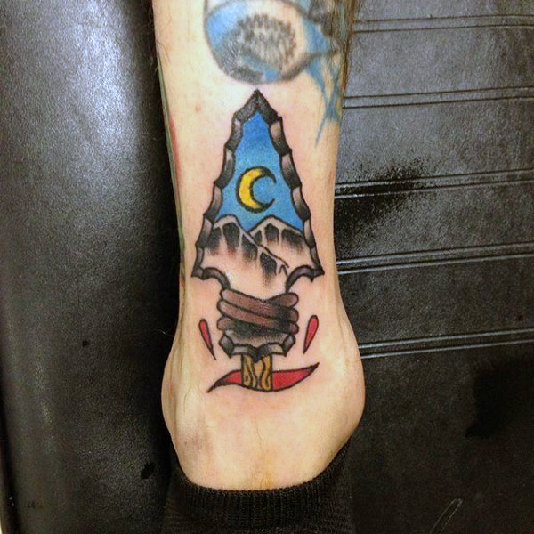 Mens Yellow New Moon In Arrowhead Tattoo On Legs