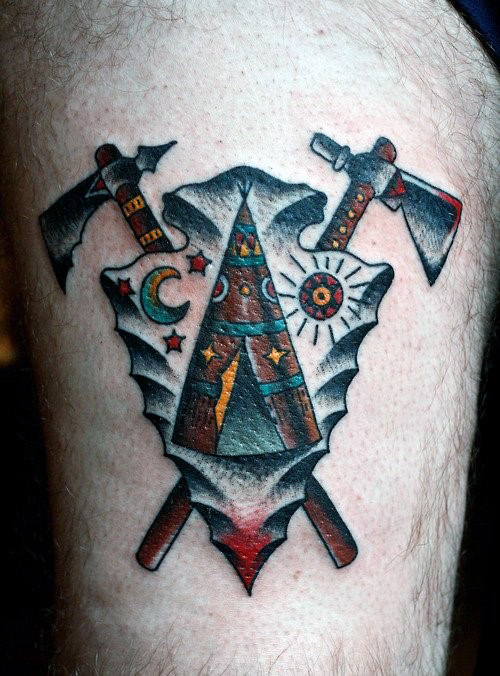 Nice Arrowhead Tattoo With Crossed Axes On Arms Male
