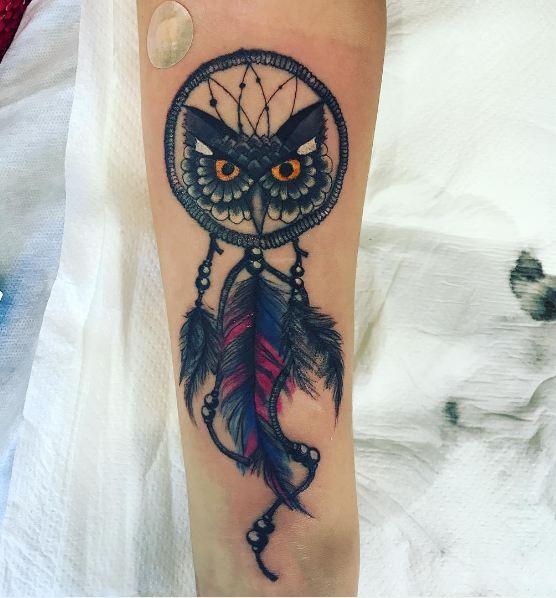 Owl Eye With Dreamcatcher Tattoos