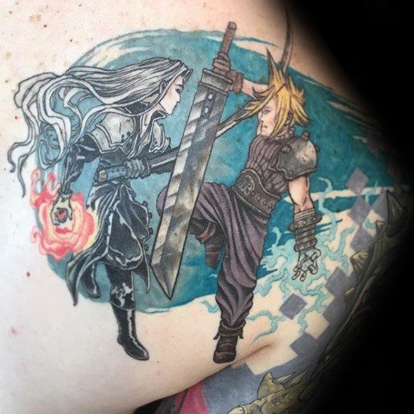 Shoulder Final Fantasy Themed Tattoos For Men
