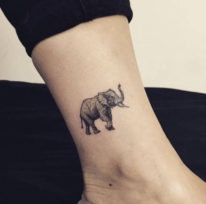 Small Elephant Tattoos On Leg