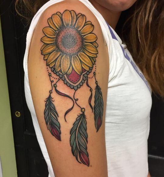 Sunflower With Dreamcatcher Tattoos