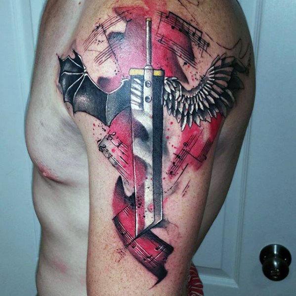 Sword Final Fantasy Mens Watercolor Arm Tattoo