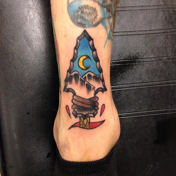 Tattoo Arrowhead Night Landscape