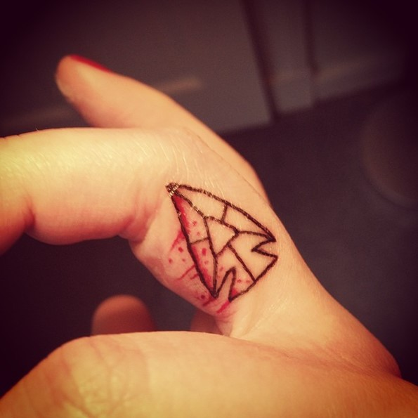 Tiny Arrowhead Finger Tattoo