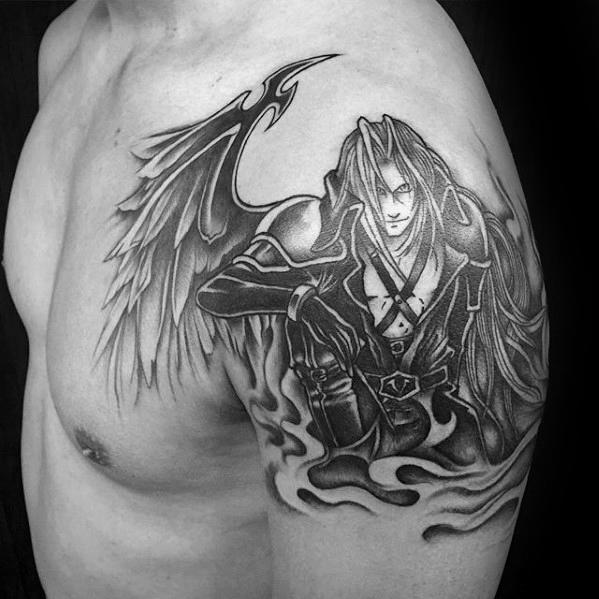 Upper Arm Black And Grey Final Fantasy Tattoo On Guy