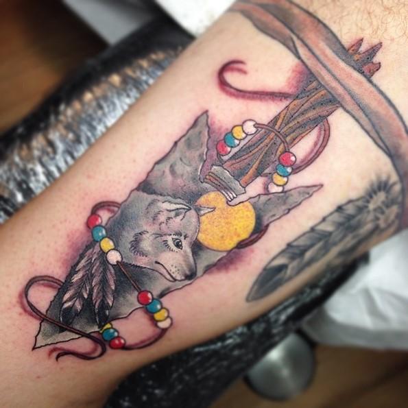 Wolf Inside Arrowhead Sleeve Tattoo
