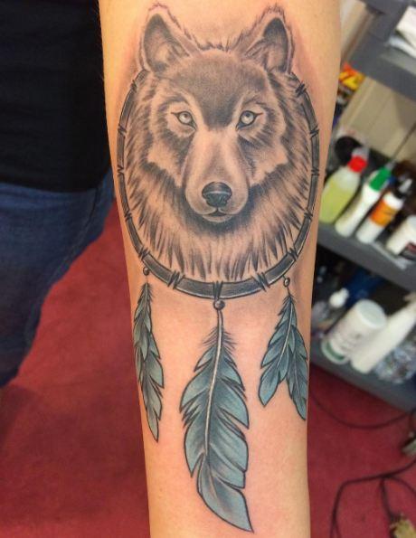Wolf With Dreamcatcher Tattoos