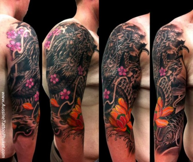 09 Japanese Dragon Tattoo Half Sleeve