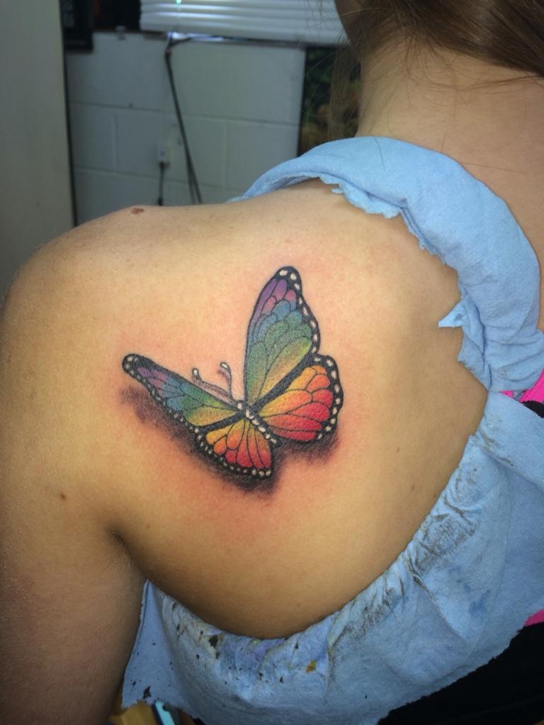 09 Rainbow Butterfly Tattoo