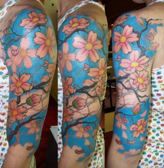 13 Japanese Flower Tattoo Sleeve
