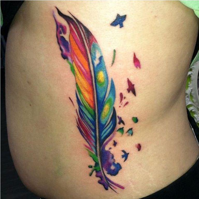 13 Rainbow Feather Tattoo