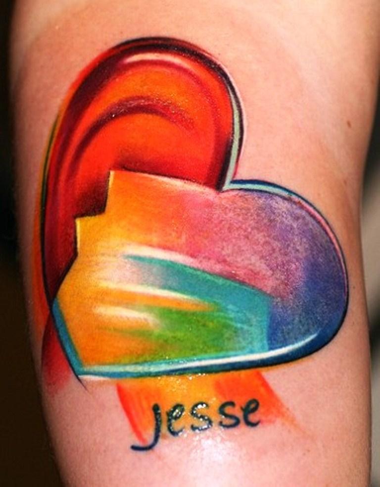 17 Rainbow Heart Tattoo