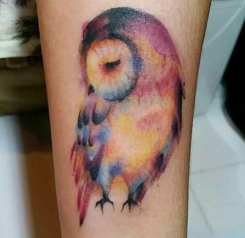 23 Rainbow Owl Tattoo