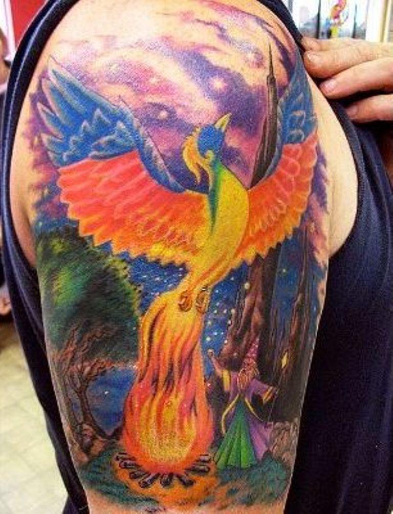 24 Rainbow Phoenix Tattoo