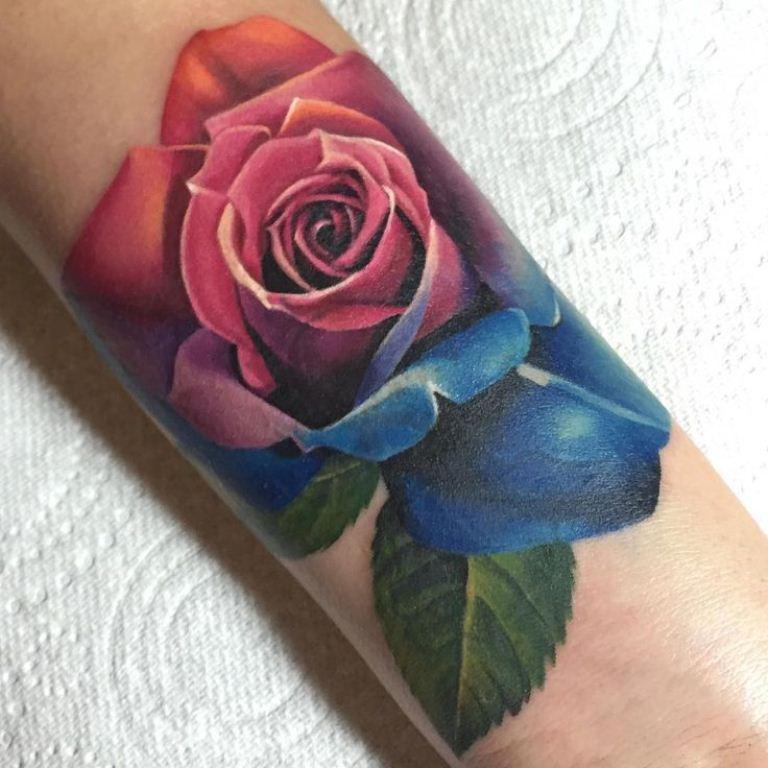 26 Rainbow Rose Tattoo