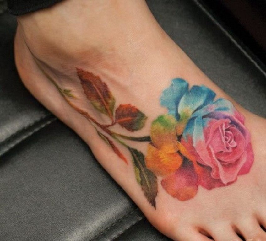 27 Rainbow Rose Tattoo Designs