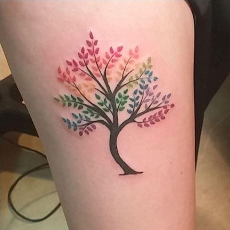 36 Rainbow Tree Tattoo