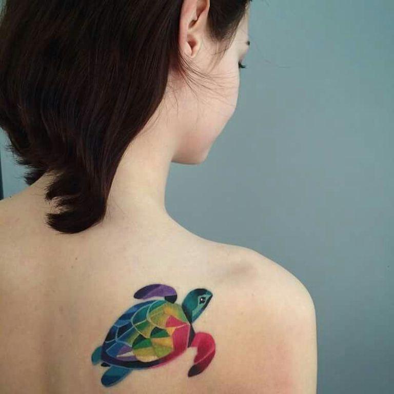 37 Rainbow Turtle Tattoo