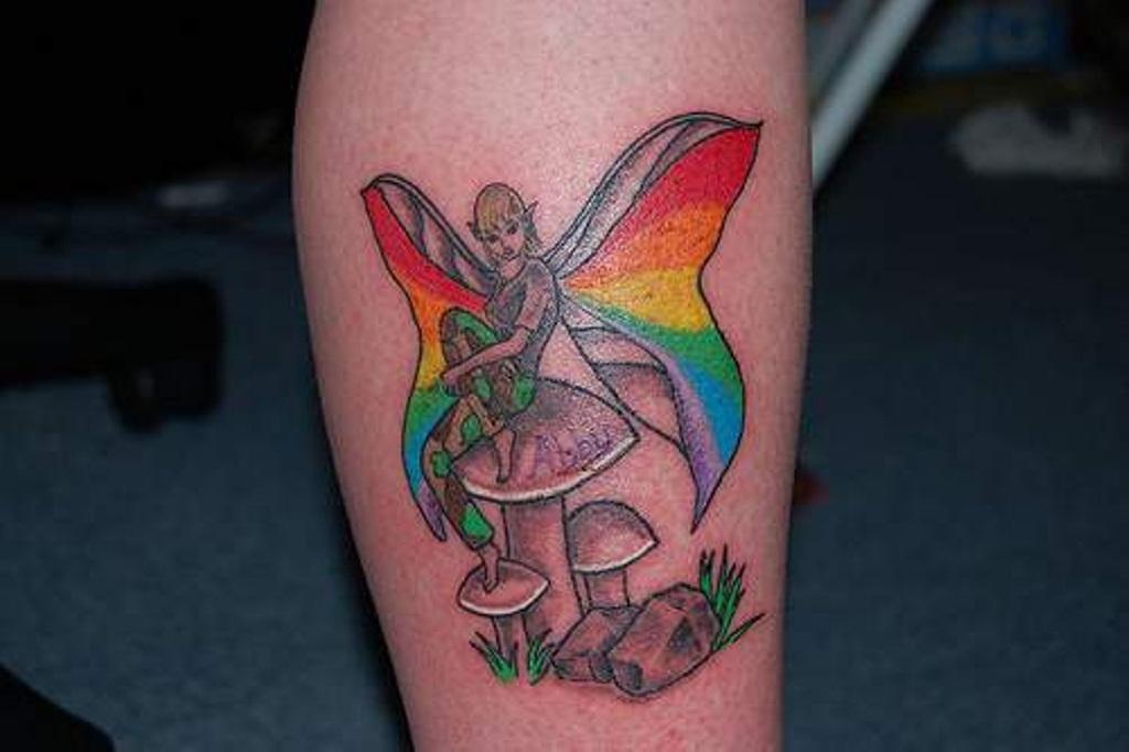 40 Rainbow Wings Tattoo