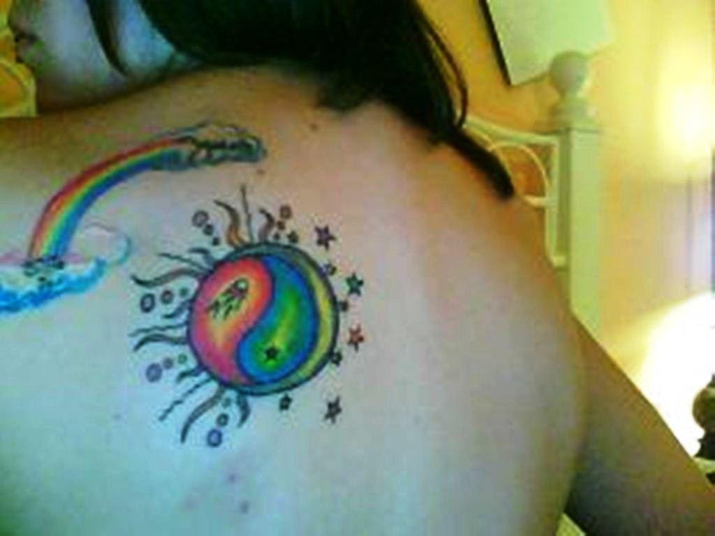 42 Rainbow Yin Yang Tattoo