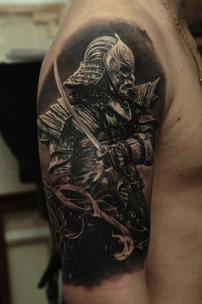 46 Japanese Warrior Sleeve Tattoo