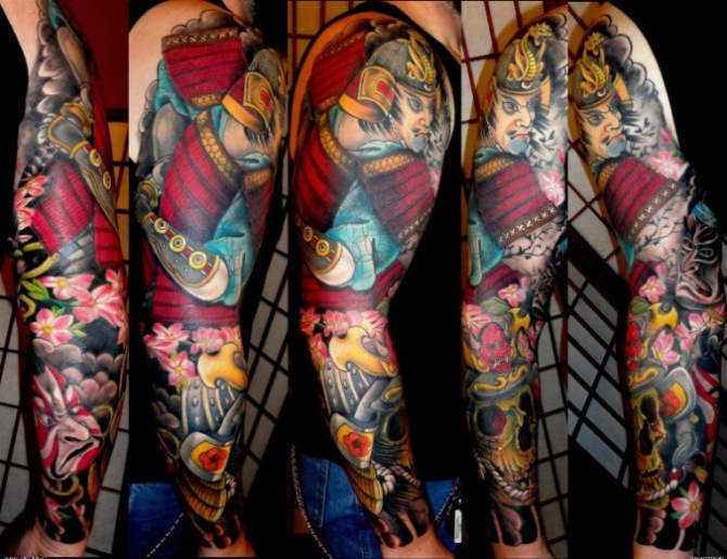 47 Japanese Warrior Tattoo Sleeve