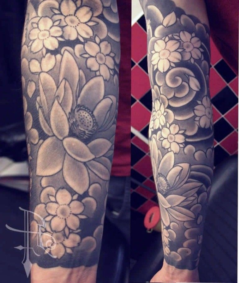 Japanese Cherry Blossom Tattoo Sleeve