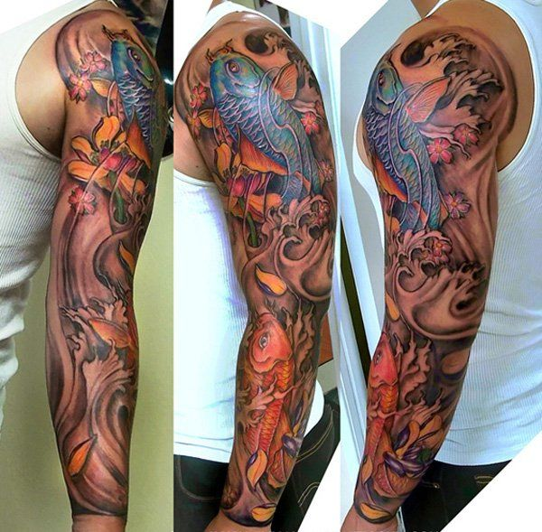Black And Gray Half Sleeve Tattoos