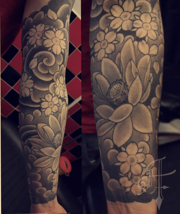 Black And Gray Japanese Sleeve Tattoos