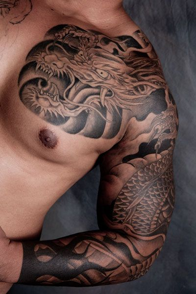 Half Sleeve Chest Tattoo