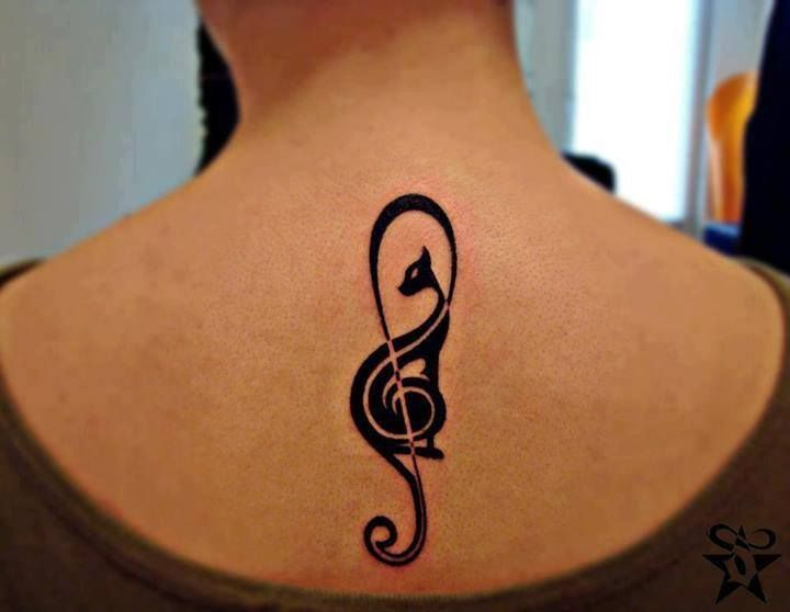 Treble And Bass Clef Heart Tattoo (1)
