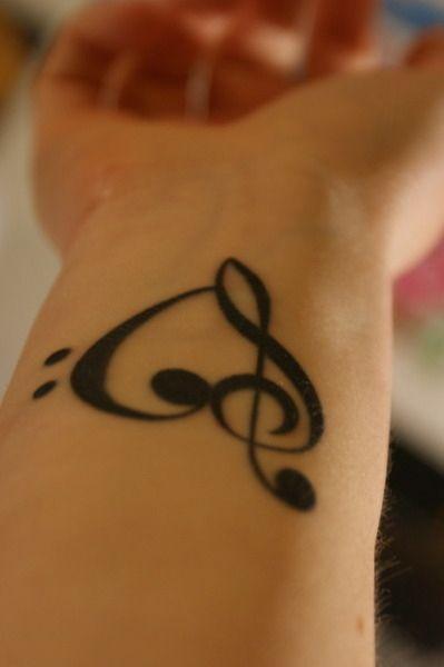 Treble And Bass Clef Heart Tattoo (10)