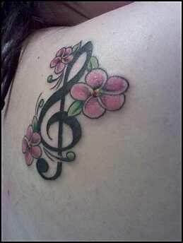 Treble And Bass Clef Heart Tattoo (3)