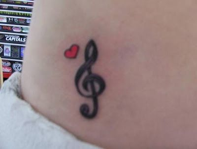 Treble And Bass Clef Heart Tattoo (9)