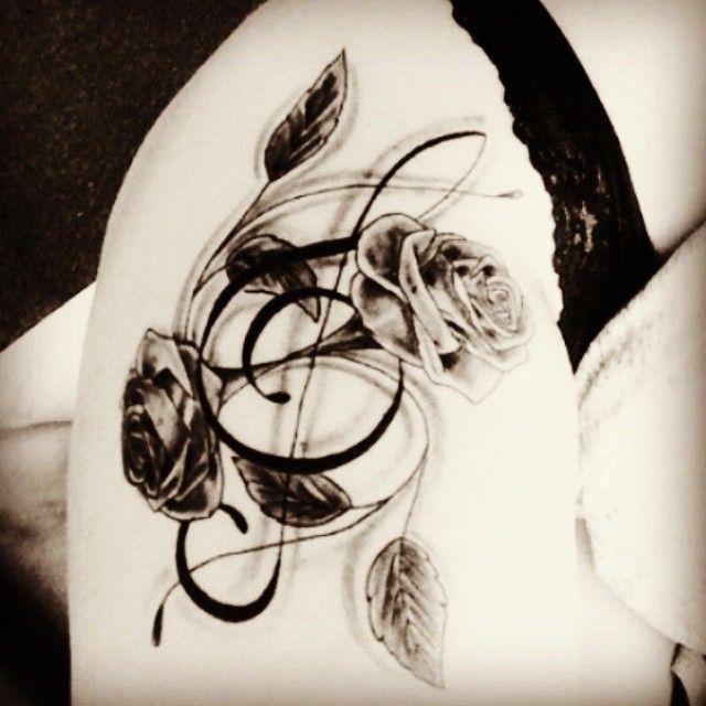 Treble Clef Heartbeat Tattoo (7)