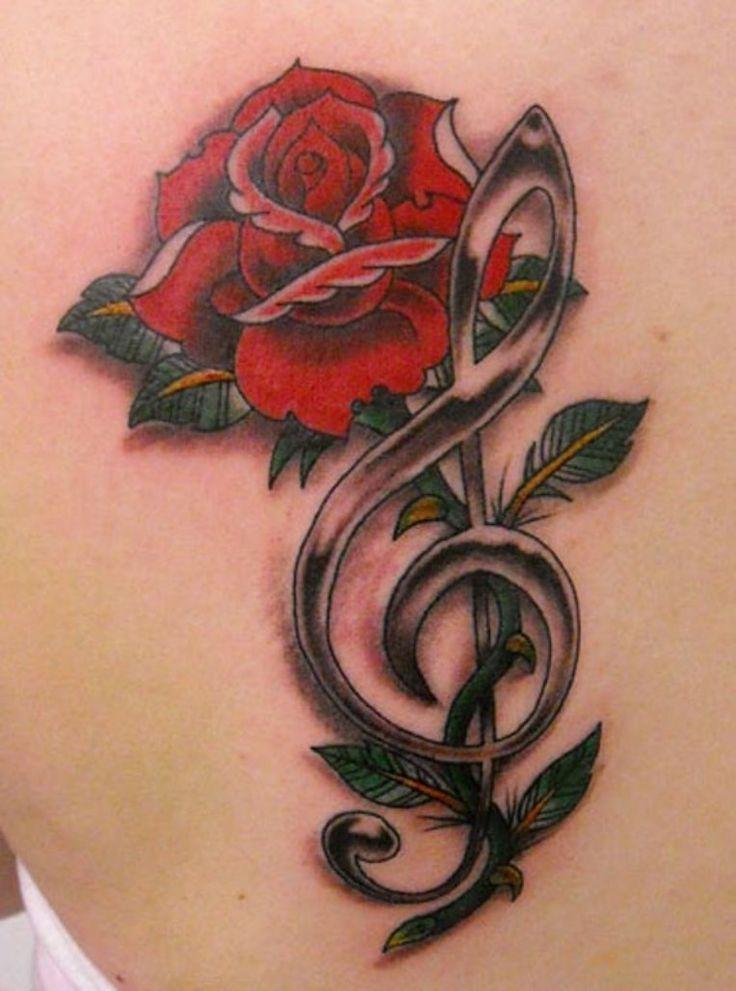 Treble Clef Tattoo Behind Ear (2)
